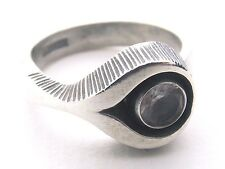 STERLING SILVER AND ROCK CRYSTAL RING   by Sten & Laine of Finland   size M1/