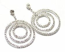 Gypsy Style Sparkling Crystal/Diamante Triple Circle Chandelier Dangle Earrings