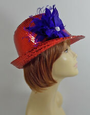 RED SEQUIN FEDORA HAT & FEATHER FLOWER LADIES OF SOCIETY DERBY DAY OR CHURCH