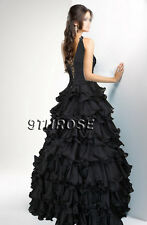 OWN THE STAGE! BEADED ONE SHOULDER FORMAL/EVENING/PROM/BALL GOWN; BLACK AU14US12