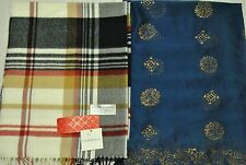 Women's Scarf Lot of 2 :NWT Croft & Barrow Light Brown,Pre-owned Navy Blue Scarf