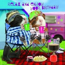 Funny Guinea Pig Birthday Card Happy Campers Camping Holiday, Tent, Caravan