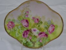"""Limoges Hand Painted Signed """"Alice"""" Beautiful Drop Roses Clover Shaped Bowl"""