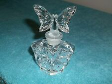 24 % LEAD CRYSTAL GLASS PERFUME BOTTLE WITH BUTTERFLY HANDLE FREE SHIPPING