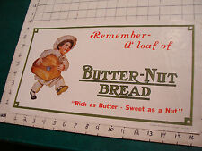 Vintage BUTTER-NUT BREAD paper sign, old but post WWII