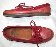 LUCKY BRAND Boat Shoe Leather Canvas coral/ pink Moccasin LK-Cailin Loafers 9.5M