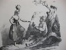 Lithographie ancienne originale Bellangé costumes romantisme Brodeuse