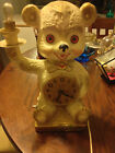 Vintage United Clock Teddy Bear Light with Red Jewels