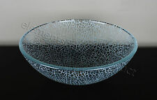 Bathroom Crackle Glass Vessel Vanity Sink + Drain 1015