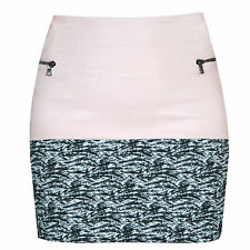 DROMe ITALY $760 light pink leather and tweed zipper SS14 mini skirt S NEW
