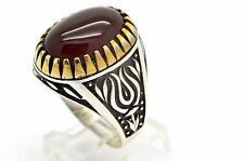 TULIP RED AGATE 925 STERLING SILVER BRONZE MEN'S WOMEN'S TURKISH RING SIZE 11,75