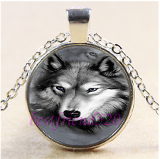 Wolf Photo Cabochon Glass Tibet Silver Chain Pendant Necklace#1I0