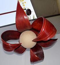 Lampadario in Cocco rosso bordeau con palla di cotone bianca cm60 etnico banano