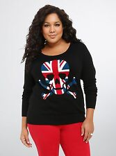 Torrid Rebel Skull Union Jack Raglan Black Sweater Size: 1 1X 14 16 #705