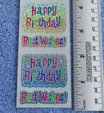 Sandylion HAPPY BIRTHDAY WISHES Strip of 2 Sqs RETIRED SPARKLE Stickers