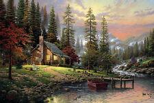 """Large 12""""x18"""" Thomas Kinkade A Peaceful Retreat Real Canvas Fine Art Print"""
