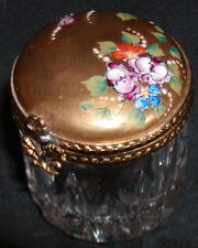 Peint Main Limoges Porcelain Crystal Hand Painted Pill Trinket Box