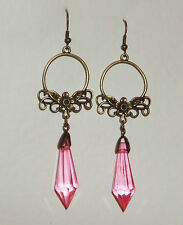 LONG ART NOUVEAU STYLE FACETED PINK DARK GOLD PLATED FLOWER EARRINGS FN