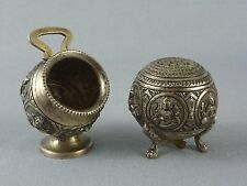 VTG Antique Silver Salt Cellar & Pepper Shaker / Hindu Religion Indian