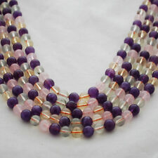 Grade A Natural Citrine Amethyst Prehnite Rose Quartz Mixed Gemstone Round Beads