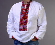 EASTER gift SALE!! Ukrainian Embroidered Linen Mens SHIRT Vyshyvanka  Dress 2XL