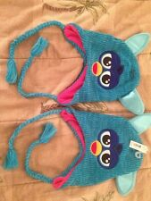 2- NEW BLUE FURBY FLAP EAR BEANIES CAP HAT ONE SIZE FITS MOST RN# 115665 HASBRO