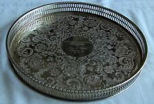 Viners Silver plate chased circular tray reticulated pierced gallery round 10""