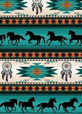 Turquoise, Orange Blanket Stripe, Horses, Tucson, Elizabeths Studios By 1/2 Yard