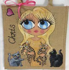 Personalizzata a Iuta CAT LOVERS Handbag Borsa a mano con fino a 4 GATTI