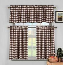 Brown White Gingham Checkered Plaid Kitchen Tier Curtain Valance Set Duck River