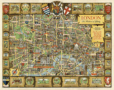 Pictorial Historical Map London, The Bastion of Liberty Vintage Wall Art Poster