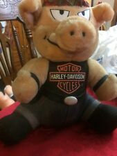 Harley Davidson Stuffed Hog Motor Cycle Hog Bandana On Head