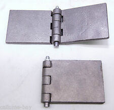 2 X Heavy Duty Steel (6.2mm Thick) Weld On Hinge With Greasable Pin Trailer Gate
