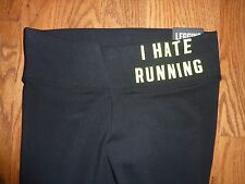 "VICTORIAS SECRET PINK BLACK WITH NEON ""I HATE RUNNING "" DOG YOGA LEGGINGS XS NWT"