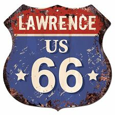 BPRF0063 LAWRENCE US 66 Shield Rustic Chic Sign  MAN CAVE Funny Decor Gift