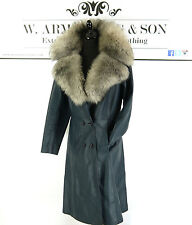 Women's VTG 70s Blue REAL SHEARLING COLLAR LEATHER Penny Lane Coat Boho UK 12