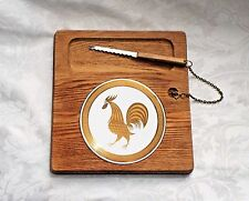 """VINTAGE WOODEN CHEESE BOARD, Round Rooster Ceramic Plate w/ Knife 10"""" Ht 9.5"""" L"""