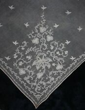ANTIQUE 19TH CENTURY DRESDEN LACE EMBROIDERY SHAWL (4521)