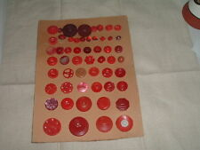 VINTAGE CARVED RED CELLULOID BAKELITE LUCITE SEWING BUTTONS COLLECTION OF 54