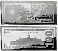 """2016 DATED PROOF 4oz CURRENCY UNC SILVER BAR FRANKLIN $100 ~ HUGE 2.5"""" x 6"""" .999"""