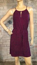 BANANA REPUBLIC DRESS XS PETITE CAREER CASUAL SHIFT  PURPLE BLACK TIE BELT NWT
