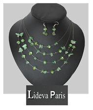 Set Kette Ohrringe Halskette Schmuckset Collier Paris Aventurin Edelstein Glas