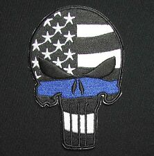 PUNISHER SKULL USA WAVING FLAG POLICE MORALE SWAT THIN BLUE LINE VELCRO PATCH