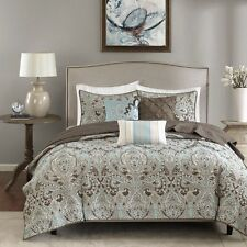 King Size Reversible 6-piece Coverlet Set Quilted Bedding Shams Paisley Print