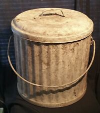 Vintage Galvanized Trash Can w Lid HARD TO FIND Antique Metal Garbage Pail 15""