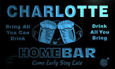 p2067-b Charlotte Personalized Home Bar Beer Family Name Neon Light Sign