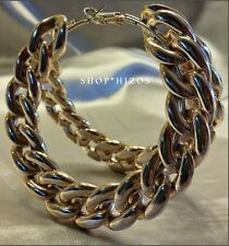 "LARGE ACRYLIC CHUNKY CHAIN LINK HOOP 3"" STATEMENT EARRINGS NEW"