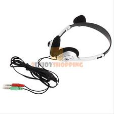 Stereo Headset Gaming Microphone Headphone w/ 3.5mm for PC Laptop Computer Black
