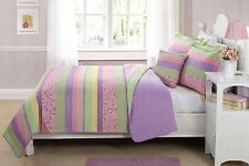 TWIN  SIZE 3 PC CHILDREN'S KIDS GIRLS QUILT BEDDING BEDSPREAD FLOWERS BUTTERFLY