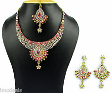 Indian Ethnic Gold Plated Bridal Necklace Earrings Mang Tikka Jewelry Set NH232